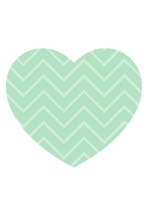 Loveheart Card - Green Chevron Stripe