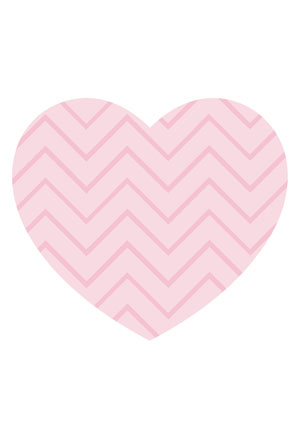 Loveheart Card - Pink Chevron Stripe
