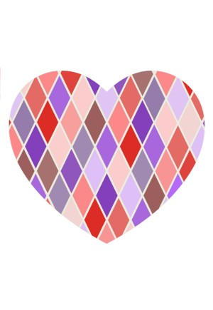 Loveheart Card - Harlequin