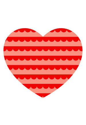 Loveheart Card - Red Candy Stripes