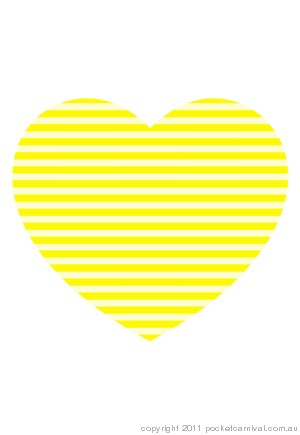 Loveheart Card - Yellow Candy Stripes