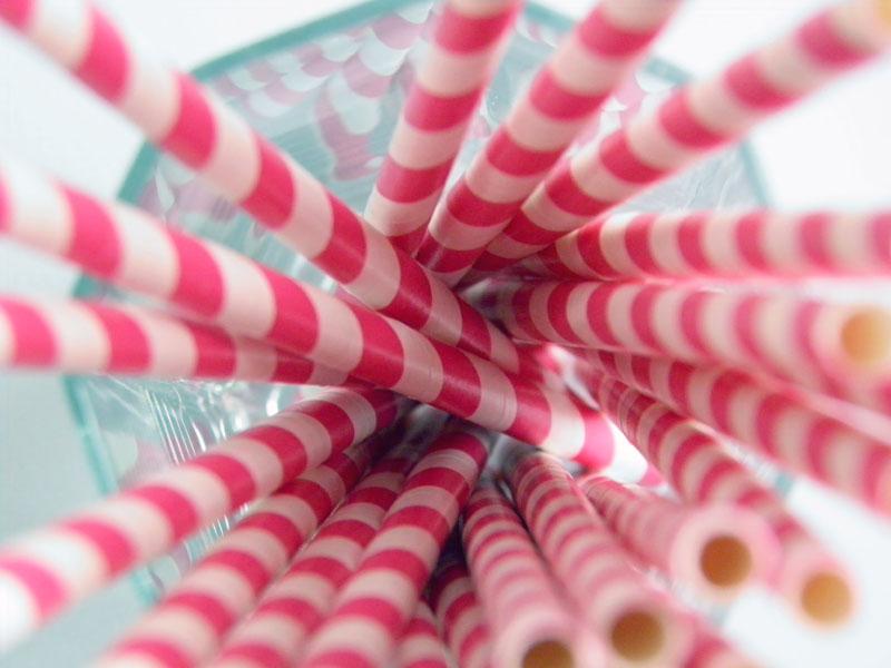 Pink Striped Paper Straws 25 Paper Straws Hot Pink