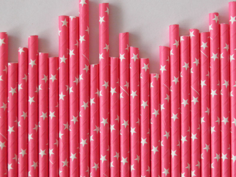 Pink And White Striped Paper Straws 25 Paper Straws Hot Pink